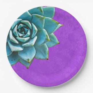 succulent watercolor purple lace paper plate