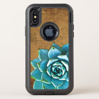 Succulent Watercolor Rustic Brown OtterBox Defender iPhone X Case