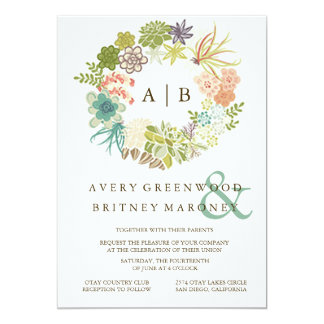 Succulent Watercolor Wedding Invitation