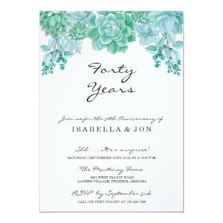 Succulent Wedding Anniversary Party Invitation