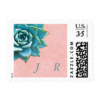 Succulent Wedding Initials Lace Watercolor Postage