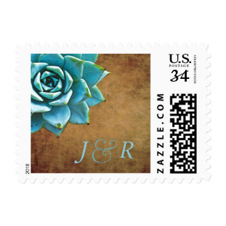 Succulent Wedding Initials Rustic Brown Postage