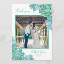 Succulent wedding photo thank you   with note