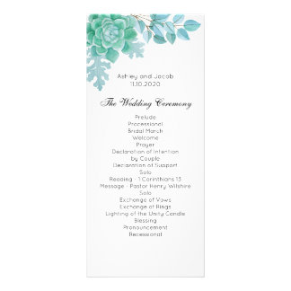 Succulent wedding program. Mint cactus ceremony Rack Card