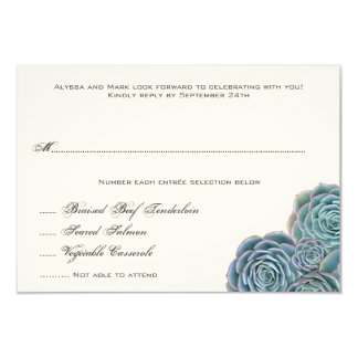 Succulent Wedding Reply Card With Entrees
