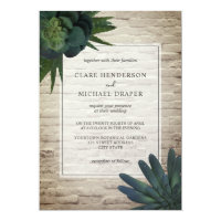 Succulent White Brick Wedding Invitation
