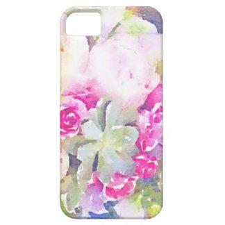 Succulent y rosas de la acuarela iPhone 5 funda