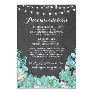 Succulents Accommodation Mint Wedding Chalk Card