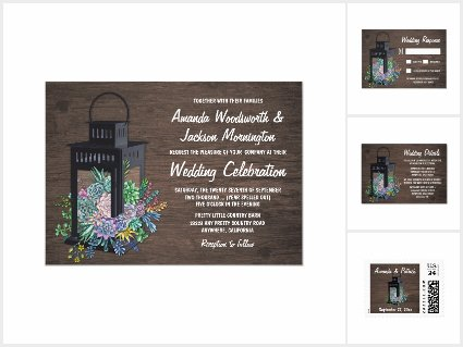 Succulents and Black Lantern Rustic Wedding Set