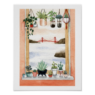 Succulents and Golden Gate Bridge Poster
