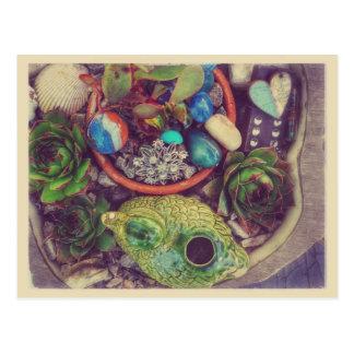 Succulents and Little Garden Art Objects Postcard