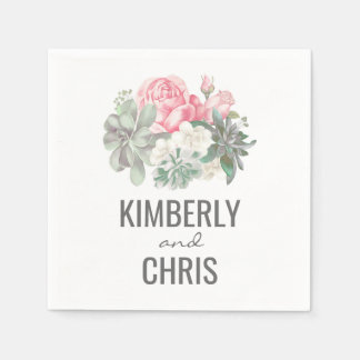 Succulents and Pink Floral Bouquet Wedding Napkin