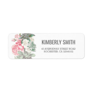 Succulents and Pink Florals Wedding Label