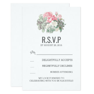 Succulents and pink florals wedding RSVP cards