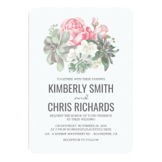 Succulents and Pink Flowers Elegant Simple Wedding Card