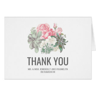 Succulents and Pink Flowers Wedding Thank You Card