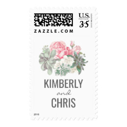 Succulents and Pink Roses Elegant Wedding Postage