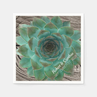Succulents and Wood Paper Wedding Napkins