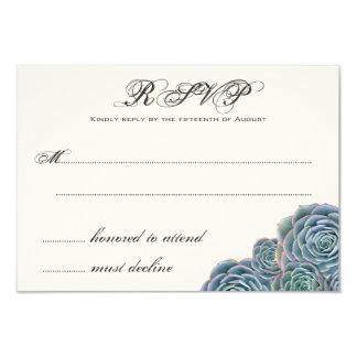 """Succulents azules que casan la línea adicional de invitación 3.5"""" x 5"""""""