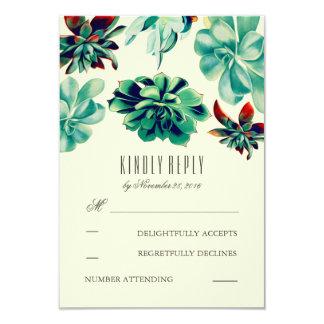 Succulents Bouquet Teal Wedding RSVP Cards