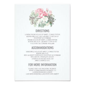 Succulents Bouquet Wedding Details- Information Card