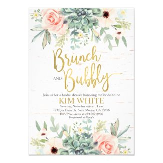 Succulents bridal shower brunch invitation