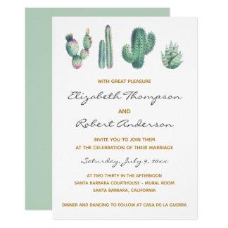 Succulents Cactus Wedding Modern Elegant Chic Invitation