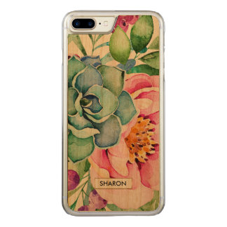 Succulents & Colorful Flowers Watercolors Illustra Carved iPhone 8 Plus/7 Plus Case
