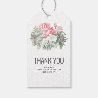 Succulents Elegant Floral Pink Wedding Gift Tags