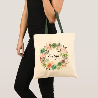 Succulents Floral Blush Peach Greenery Tote Bag