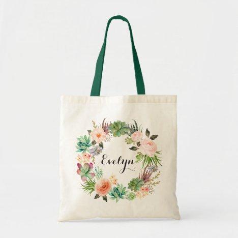Succulents Floral Blush Peach Greenery Tote Bag