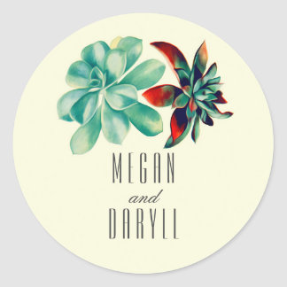 Succulents Floral Bouquet Teal Wedding Classic Round Sticker