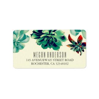 Succulents Floral Elegant Teal Wedding Address Label