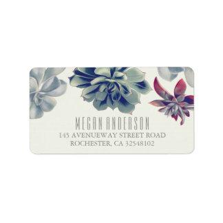 Succulents Floral Elegant Wedding Address Label