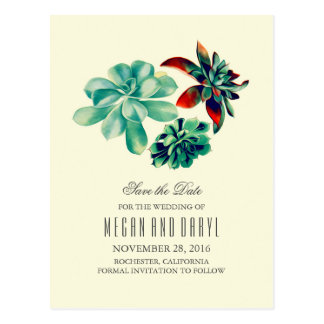 succulents floral romantic teal save the date postcard
