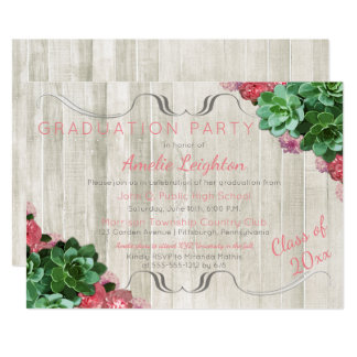 Succulents Floral Rustic 2017 Graduation Party Card