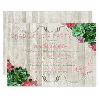 Succulents Floral Rustic Graduation Party Card