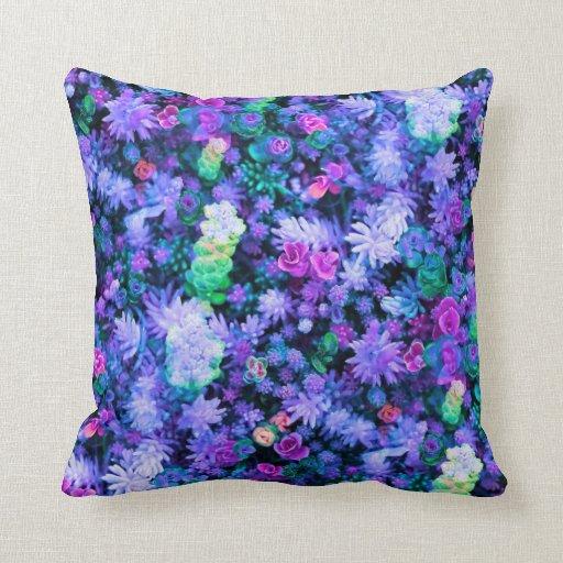 Succulents florales rosados y púrpuras femeninos cojines