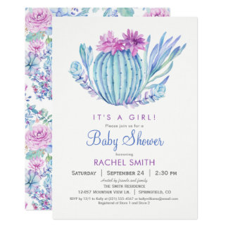 Succulents Girl Baby Shower Invitation