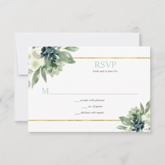 Succulents, Gold, White Flowers - Pale Green RSVP Card