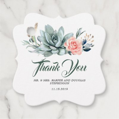Succulents Greenery Blush Pink Floral Wedding Favor Tags