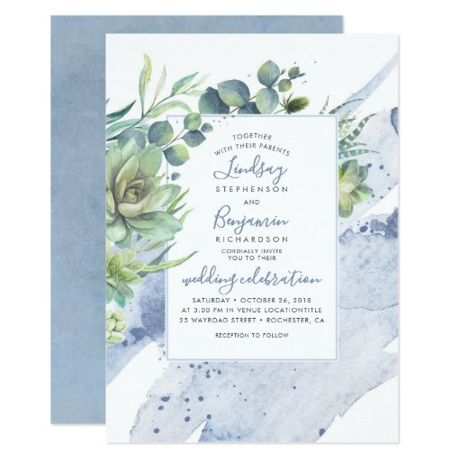Succulents Greenery Dusty Blue Elegant Wedding Invitation