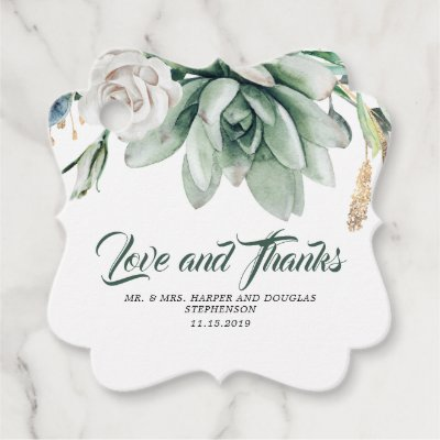 Succulents Greenery White Floral Wedding Favor Tags