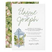 Succulents in lantern Rustic Wedding Invitations