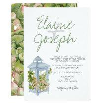 Succulents in lantern Rustic Wedding Invitations