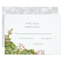 Succulents in lantern Rustic Wedding rsvp Card