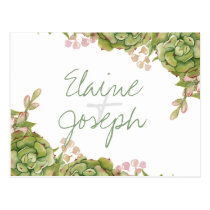 Succulents in lantern Rustic Wedding rsvp postcard