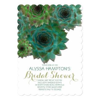 """Succulents nupciales del verde de la ducha del invitación 5"""" x 7"""""""