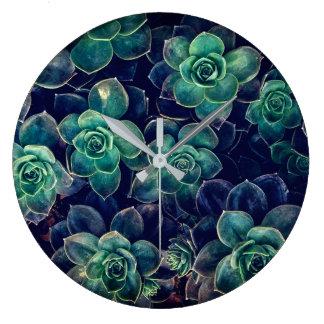 Succulents Pattern Large Clock