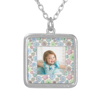Succulents photo frame necklace